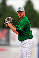 22 June 2009: Vermont Lake Monsters' pitcher Gary Amato warms up prior to facing the Tri-City ValleyCats at Historic Centennial Field in Burlington, Vermont. The Lake Monsters defeated the visiting ValleyCats 5-4 in extra innings. Mandatory Photo Credit: Ed Wolfstein Photo