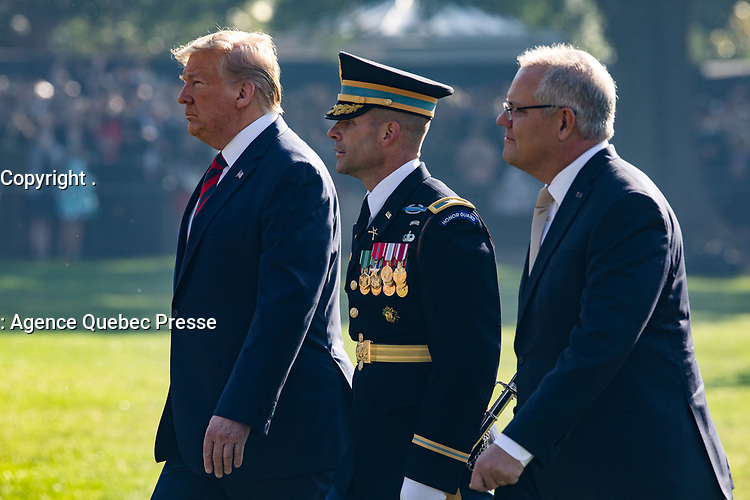 President Donald J. Trump and Australian Prime Minister Scott Morrison review troops during the State Visit Friday, Sept. 20, 2019, on the South Lawn of the White House. (Official White House Photo by Keegan Barber