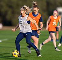 ORLANDO, FL - JANUARY 21: Julie Ertz #8 of the USWNT dribbles during a training session at the practice fields on January 21, 2021 in Orlando, Florida.