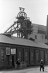 The Pit head. South Kirkby Colliery, Yorkshire England. Coal Miners story 1979. Opened in 1881, closed in 1988 and later demolished.  The building in the forefront is the lamproom of the colliery. It also housed the underground electricians meeting room, commonly known by it's colliery internal phone number of 118.<br /> <br /> IF YOU KNOW THE NAMES OF ANY OF THE MEN IN THESE IMAGES PLEASE LET ME KNOW, I WOULD LIKE TO BE ABLE TO PUT A NAME TO A FACE. THANKS.