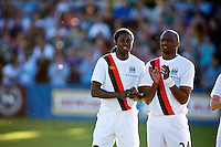 Manchester City forward Emmanuel Adebayor and Patrick Vieira before a match at Merlo Field in Portland Oregon on July 17, 2010.