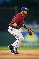 Mahoning Valley Scrappers third baseman Jonathan Laureano (40) during the second game of a doubleheader against the Batavia Muckdogs on August 17, 2016 at Dwyer Stadium in Batavia, New York.  Batavia defeated Mahoning Valley 5-3.  (Mike Janes/Four Seam Images)
