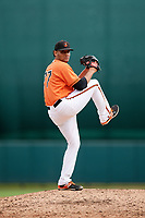 Baltimore Orioles pitcher Isaac Silva (77) delivers a pitch during an Instructional League game against the Tampa Bay Rays on October 5, 2017 at Ed Smith Stadium in Sarasota, Florida.  (Mike Janes/Four Seam Images)