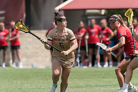 NEWTON, MA - MAY 14: Courtney Weeks #6 of Boston College looks to pass during NCAA Division I Women's Lacrosse Tournament first round game between Fairfield University and Boston College at Newton Campus Lacrosse Field on May 14, 2021 in Newton, Massachusetts.