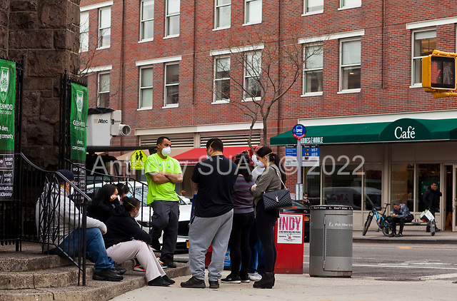 Brooklyn, New York<br /> March 20, 2020<br /> 1:50PM<br /> <br /> Brooklyn under the coronavirus pandemic. <br /> <br /> People outside the emergency entrance to New York-Presbyterian Brooklyn Methodist Hospital in Park Slope, Brooklyn.