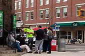 Brooklyn, New York<br /> March 20, 2020<br /> 1:50PM<br /> <br /> Brooklyn under the coronavirus pandemic. <br /> <br /> People outside the emergency entrance to New York-Presbyterian Brooklyn Methodist Hospital in Park Slope, Brooklyn.