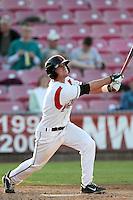 Salem-Keizer infielder John Eshleman #2 bats against the Eugene Emeralds at Volcanoes Stadium on August 9, 2011 in Salem-Keizer,Oregon. Eugene defeated Salem-Keizer 13-7.(Larry Goren/Four Seam Images)