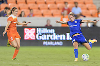 Houston, TX - Sunday Sept. 25, 2016: Morgan Brian, Manon Melis during a regular season National Women's Soccer League (NWSL) match between the Houston Dash and the Seattle Reign FC at BBVA Compass Stadium.