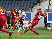 Germany's Mergim Berisha (11) shoots during a soccer game between the national teams Under21 Youth teams of Belgium and Germany on the 5th matday in group 9 for the qualification for the Under 21 EURO 2021 , on tuesday 8 th of September 2020  in Leuven , Belgium . PHOTO SPORTPIX.BE   SPP   SEVIL OKTEM