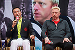 Mission Hills Vice Chairman Tenniel Chu (left) and tennis legend Boris Becker (right) during the Press conference for the opening of Boris Becker Tennis Academy at Mission Hills Resort on 19 March 2016, in Shenzhen, China. Photo by Lucas Schifres / Power Sport Images