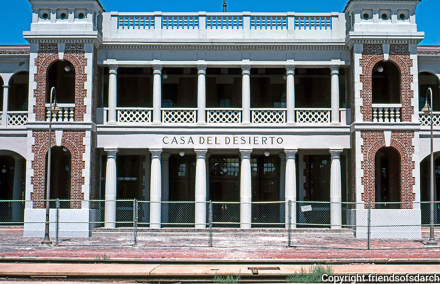 "Barstow CA: Santa Fe Depot, frontal elevation.  ""Casa del Desierto"", Mary Colter, 1911.<br /> Photo '99."