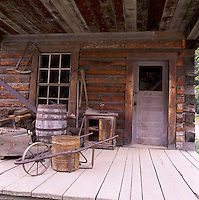 Barkerville, a Restored Historic Gold Rush Town in the Cariboo Region, BC, British Columbia, Canada - Front Porch of Old Log House