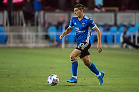 SAN JOSE, CA - MAY 12: Cristian Espinoza #10 of the San Jose Earthquakes looks up to pass the ball during a game between San Jose Earthquakes and Seattle Sounders FC at PayPal Park on May 12, 2021 in San Jose, California.