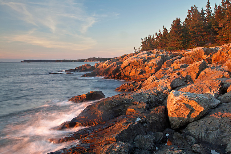 Classic granite Maine coastline along Eben's Head Trail in Acadia National Park on Isle au Haut, Maine, USA