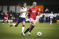 10th October 2020, The Hive, Canons Park, Harrow, England; Millie Turner  21 Manchester United is pursued for the ball by Rosella Ayane Tottenham Hotspur during for womens Super League game between Tottenham Hotspur and Manchester United