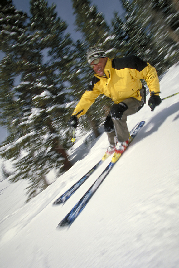 Man, Men, Scenic, Active Lifestyle, Winter, Sports, Exercise, Vacation, Skiing, Snow, Powder, Speed, Blur, Shaped Skis, Action, Skier. Bruce Ruff (MR 613). Colorado United States Rocky Mountains, Summit County, Copper, Bowl, Copper Mountain.
