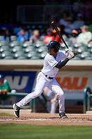 Augusta GreenJackets Aaron Bond (5) at bat during a South Atlantic League game against the Lexington Legends on April 30, 2019 at SRP Park in Augusta, Georgia.  Augusta defeated Lexington 5-1.  (Mike Janes/Four Seam Images)