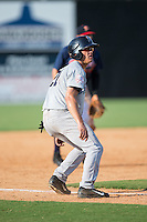 Blake Rutherford (21) of the Pulaski Yankees takes his lead off of third base during the game against the Danville Braves at American Legion Post 325 Field on July 31, 2016 in Danville, Virginia.  The Yankees defeated the Braves 8-3.  (Brian Westerholt/Four Seam Images)