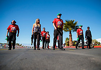 Nov 3, 2019; Las Vegas, NV, USA; NHRA top fuel driver Leah Pritchett and crew members during the Dodge Nationals at The Strip at Las Vegas Motor Speedway. Mandatory Credit: Mark J. Rebilas-USA TODAY Sports