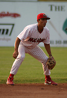 July 2, 2003:  Shortstop Omar Bramasco of the Batavia Muckdogs, Class-A affiliate of the Philadelphia Phillies, during a NY-Penn League game at Dwyer Stadium in Batavia, NY.  Photo by:  Mike Janes/Four Seam Images