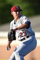 Mahoning Valley Scrappers pitcher Luis DeJesus (23) delivers a pitch during a game against the Batavia Muckdogs on June 21, 2014 at Dwyer Stadium in Batavia, New York.  Batavia defeated Mahoning Valley 10-6.  (Mike Janes/Four Seam Images)