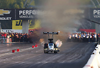Sep 1, 2019; Clermont, IN, USA; NHRA top fuel driver T.J. Zizzo during qualifying for the US Nationals at Lucas Oil Raceway. Mandatory Credit: Mark J. Rebilas-USA TODAY Sports
