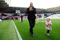 Lee Trundle of Swansea City applauds the fans at the final whistle during the Sky Bet Championship match between Swansea City and Hull City at the Liberty Stadium in Swansea, Wales, UK. Saturday 27 April 2019