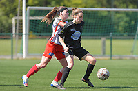 Liesa Capiau (15) of Zulte Waregem and Selina Gijsbrechts (11) of Woluwe  pictured during a female soccer game between SV Zulte - Waregem and White Star Woluwe on the 10 th and last matchday in play off 2 of the 2020 - 2021 season of Belgian Scooore Womens Super League , saturday 29 of May 2021  in Zulte , Belgium . PHOTO SPORTPIX.BE | SPP | DIRK VUYLSTEKE