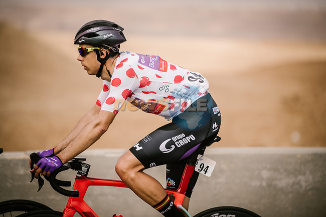 Polka Dot Jersey Angel Fuentes Paniego (ESP) Burgos-BH during Stage 3 of the Saudi Tour 2020 running 119km from King Saud University to Al Bujairi, Saudi Arabia. 6th February 2020. <br /> Picture: ASO/Pauline Ballet | Cyclefile<br /> All photos usage must carry mandatory copyright credit (© Cyclefile | ASO/Pauline Ballet)