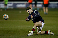 Rory Brand of London Scottish practices his ball work during the Greene King IPA Championship match between London Scottish Football Club and Nottingham Rugby at Richmond Athletic Ground, Richmond, United Kingdom on 7 February 2020. Photo by Carlton Myrie.