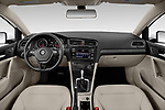 Stock photo of straight dashboard view of a 2019 Volkswagen Golf S 5 Door Hatchback