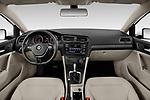 Stock photo of straight dashboard view of a 2019 Volkswagen Golf S 5 Door Hatchback