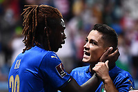 8th September 2021; Mapei Stadium, Città del Tricolore, Reggio Emilia, Italy: FIFA World Cup 2022 qualification, Italy versus Lithuania:   Moise Kean shoots celebrates as he scores his 2nd goal for 4-0 in minute 29