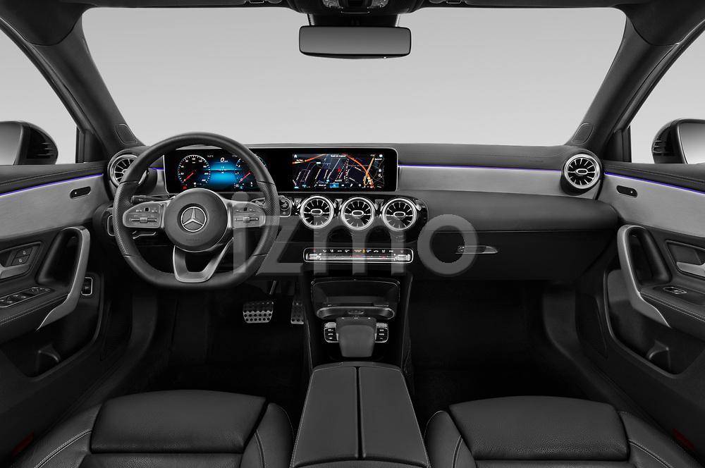 Stock photo of straight dashboard view of 2019 Mercedes Benz A-Class - 4 Door Sedan Dashboard