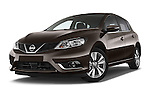 Stock pictures of low aggressive front three quarter view of a 2015 Nissan Pulser Acenta 5 Door Hatchback 2WD Low Aggressive
