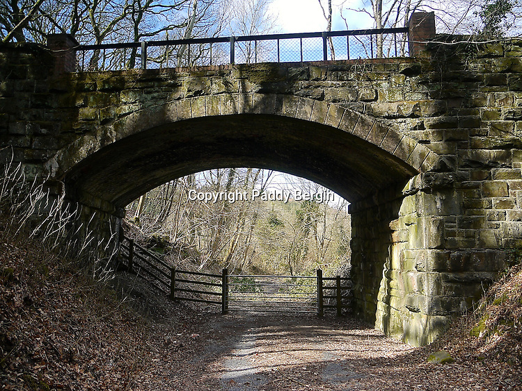 One of the many unused and dismantled Railway tracks in Wales. This one is in Trawscoed, Llanafan, Ceredigion, West Wales and shows a fine example of a bridge.<br /> <br /> Stock Photo by Paddy Bergin