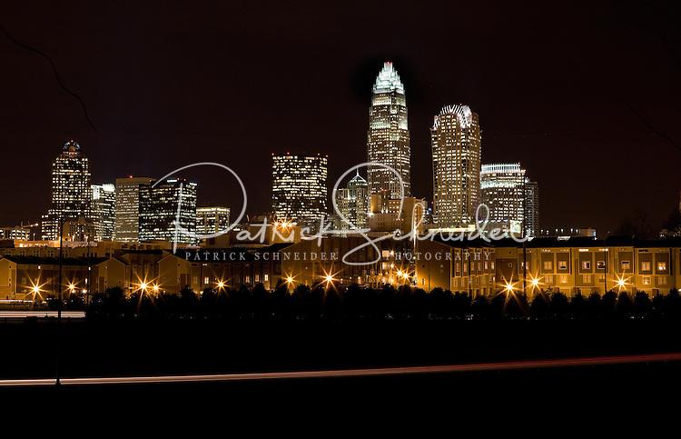 Charlotte's striking skyline at night.