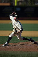 Wake Forest Demon Deacons relief pitcher Griffin Roberts (43) in action against the Richmond Spiders at David F. Couch Ballpark on March 6, 2016 in Winston-Salem, North Carolina.  The Demon Deacons defeated the Spiders 17-4.  (Brian Westerholt/Four Seam Images)