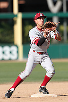 Lonnie Kauppila of the Stanford Cardinal takes a throw at second base against the USC Trojans at Dedeaux Field in Los Angeles,California on April 8, 2011. Photo by Larry Goren/Four Seam Images
