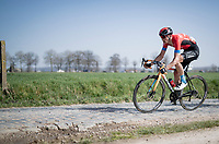 Dylan Teuns (BEL/Bahrain - Victorious) on the Varentstraat cobbles<br /> <br /> 76th Dwars door Vlaanderen 2021 (MEN1.UWT)<br /> 1 day race from Roeselare to Waregem (184km)<br /> <br /> ©kramon