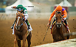 DEL MAR CA - JULY 30: Stellar Wind #2 with Victor Espinoza aboard overtakes Beholder #1 and Gary Stevens to win the Clement L Hirsch Stakes at Del Mar on July 30, 2016 in Del Mar, California. (Photo by Alex Evers/Eclipse Sportswire/Getty Images)