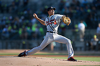 Starting pitcher Alan Rangel (55) of the Rome Braves delivers a pitch in a game against the Columbia Fireflies on Saturday, August 17, 2019, at Segra Park in Columbia, South Carolina. Rome won, 4-0. (Tom Priddy/Four Seam Images)