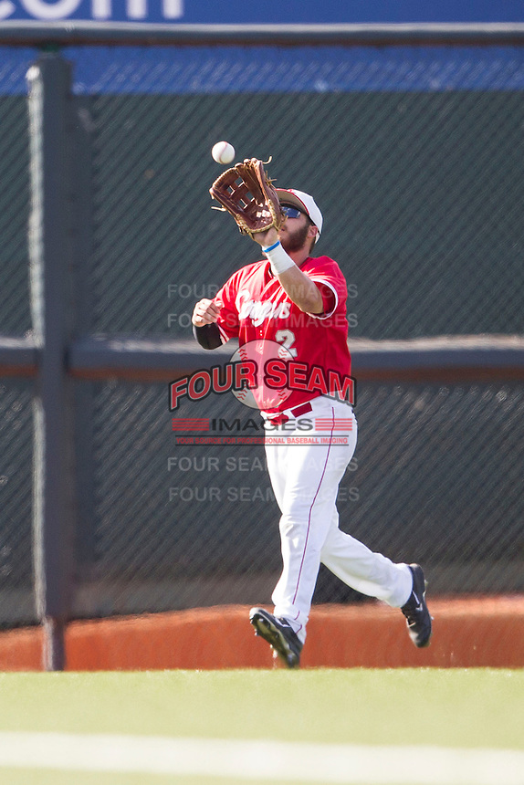 Houston Cougars outfielder Michael Pyeatt (2) makes a catch during the NCAA baseball game against the Texas Longhorns on June 6, 2014 at UFCU Disch–Falk Field in Austin, Texas. The Longhorns defeated the Cougars 4-2 in Game 1 of the NCAA Super Regional. (Andrew Woolley/Four Seam Images)