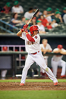 Memphis Redbirds second baseman Wilfredo Tovar (71) at bat during a game against the Round Rock Express on April 28, 2017 at AutoZone Park in Memphis, Tennessee.  Memphis defeated Round Rock 9-1.  (Mike Janes/Four Seam Images)