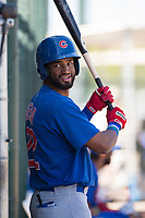 Chicago Cubs right fielder Jonathan Sierra (22) during an Extended Spring Training game against the Los Angeles Angels at Sloan Park on April 14, 2018 in Mesa, Arizona. (Zachary Lucy/Four Seam Images)