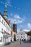 Deutschland, Freistaat Sachsen, Pirna: historische Altstadt mit Marktplatz, Rathaus, Canaletto-Haus und Stadtkirche St. Marien | Germany, the Free State of Saxony, Pirna: historical old town with market square, town hall, Canaletto house and church St. Mary