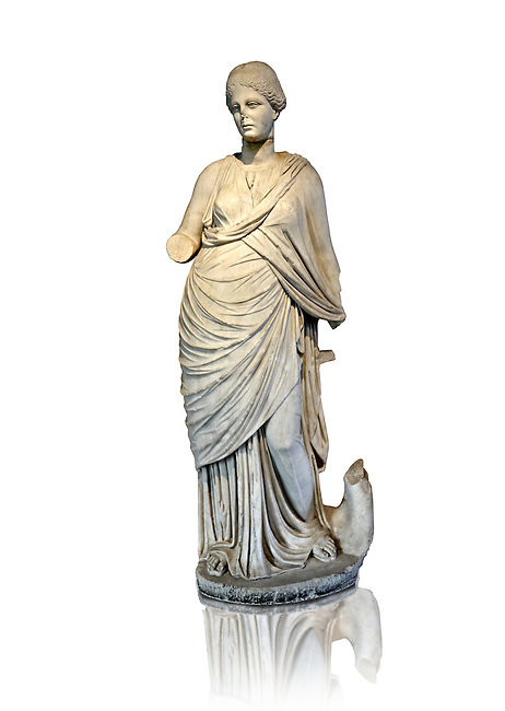 Marble Roman Statue of the Muse of Music ( Euterpe ) playing the lyre. , 2nd cent. AD, from Miletus (Balat, Soke ). Istanbul Archaeological museum Inv 2002 T.  Cat. Mendel 116
