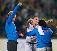 Pia Sundhage, Christie Rampone, Gigi Garcia. The USWNT defeated Brazil, 1-0, to win the gold medal during the 2008 Beijing Olympics at Workers' Stadium in Beijing, China.