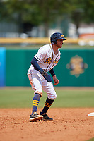 Montgomery Biscuits Dalton Kelly (9) leads off second base during a Southern League game against the Mobile BayBears on May 2, 2019 at Riverwalk Stadium in Montgomery, Alabama.  Mobile defeated Montgomery 3-1.  (Mike Janes/Four Seam Images)