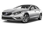 Stock pictures of low aggressive front three quarter view of 2018 Volvo S60 R-Design 4 Door Sedan Low Aggressive